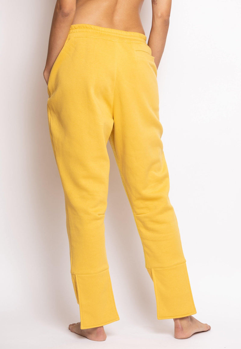 Overlapped Front Sweatpants with Cuffed Ankle in Yellow