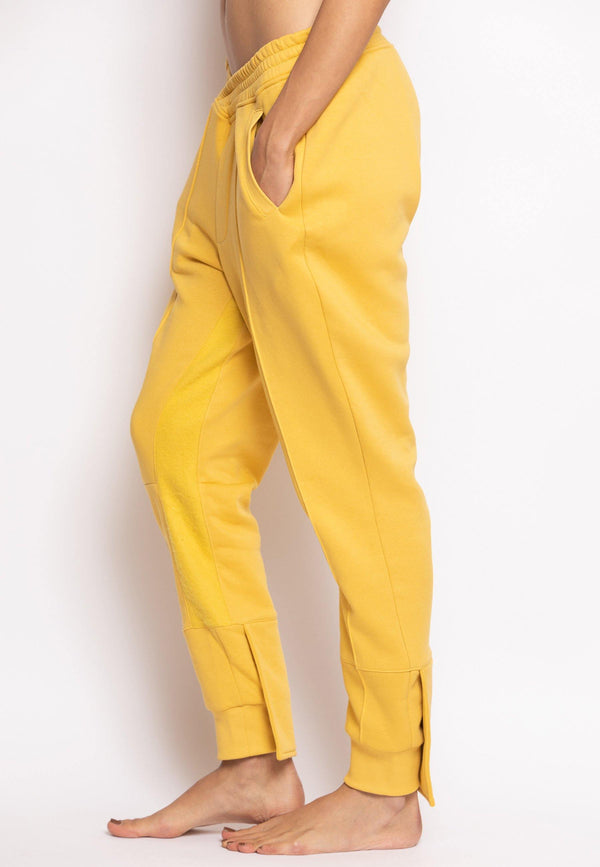 Overlapped Front Sweatpants with Cuffed Ankle in Yellow - NARRO