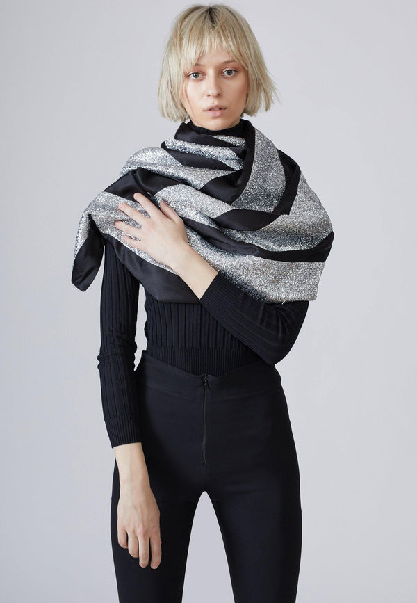 Striped Two Tone Wrap Asymmetric Scarf