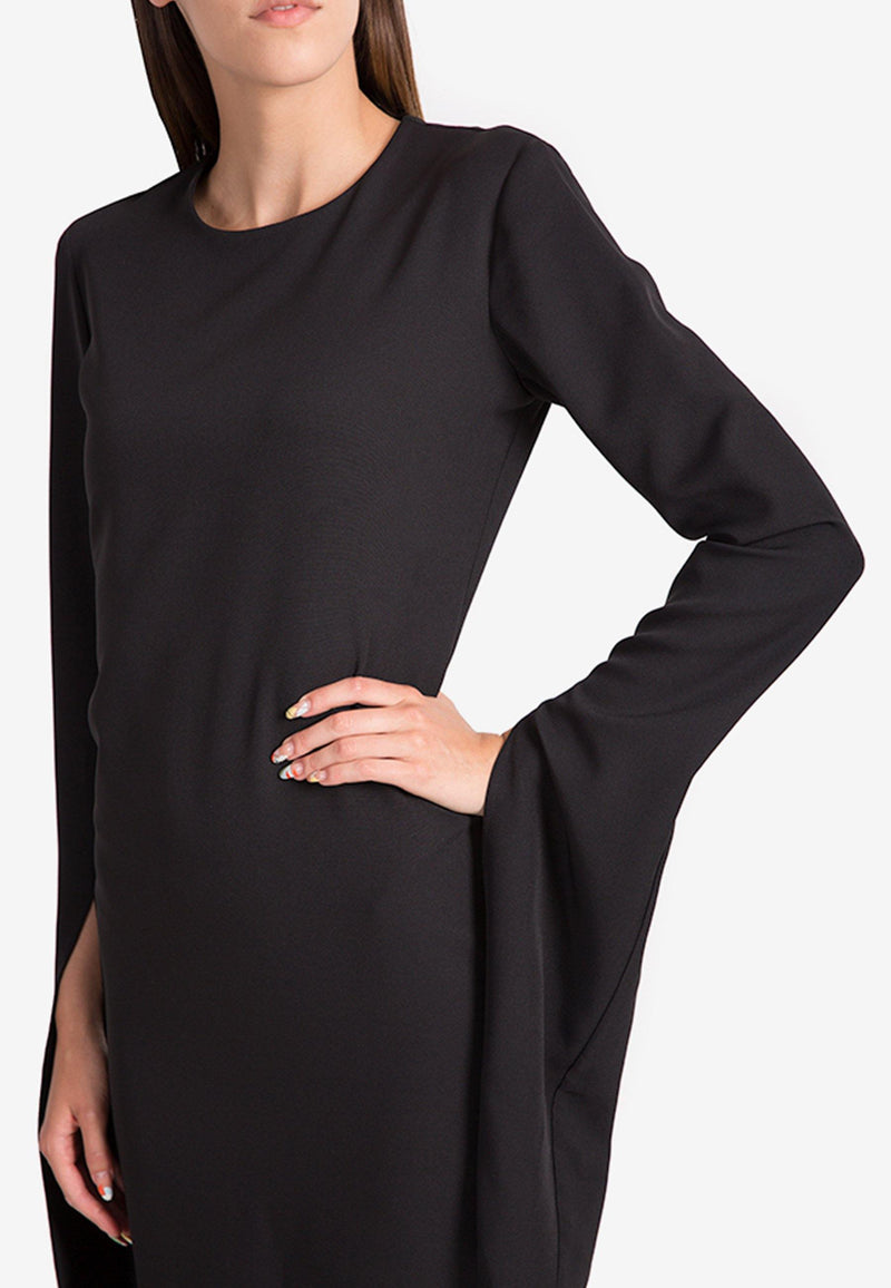 Midi Essential Viscose Dress with Elongated Sleeves - NARRO