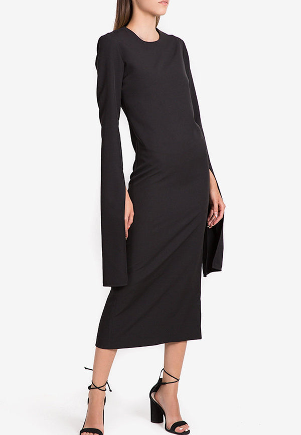 Midi Essential Viscose Dress with Elongated Sleeves
