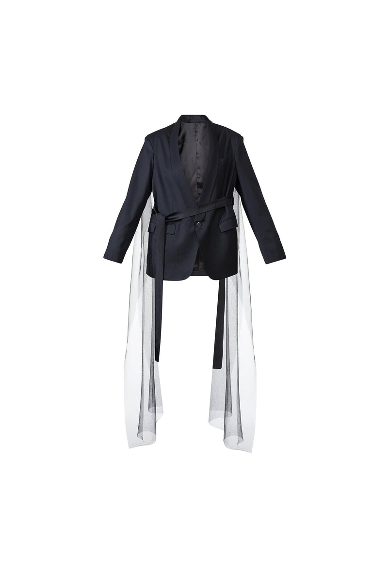 Oversized Blazer With Ribbons And Tulle Detail - NARRO