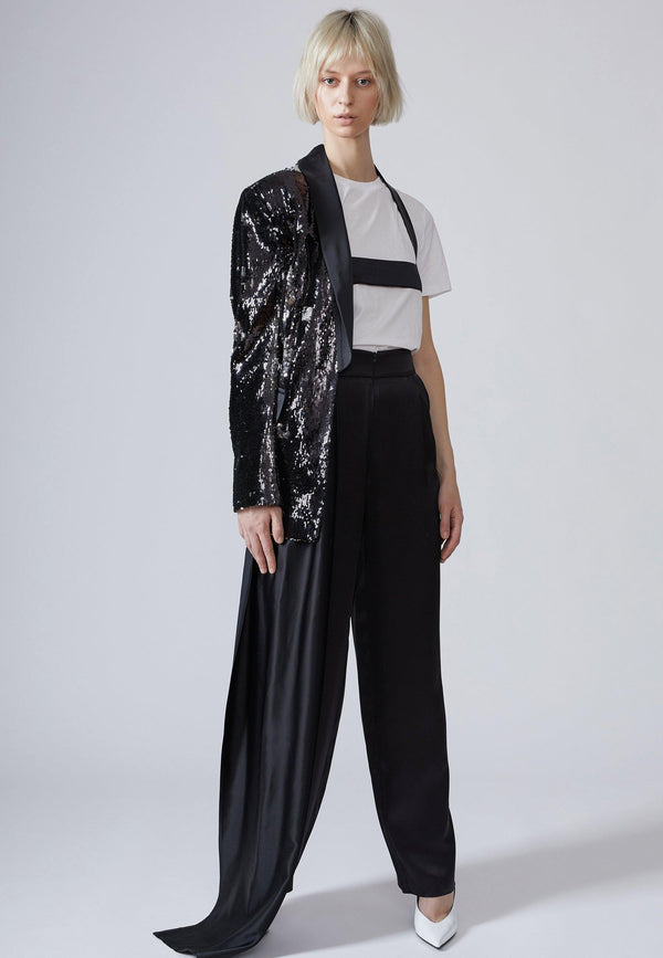 Deconstructed Sequin Blazer in Black - NARRO