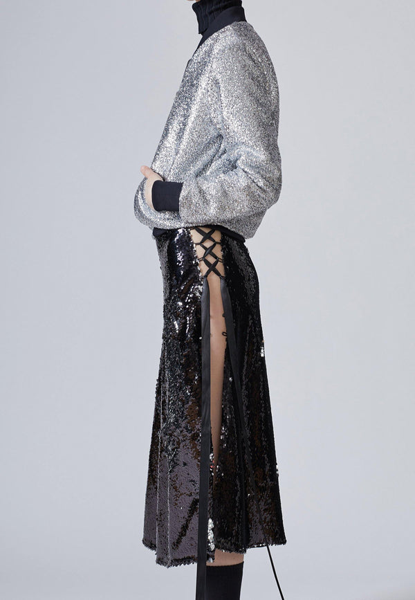 Black Asymmetric Sequin Midi Skirt  | NARROCLOTHING.COM - NARRO