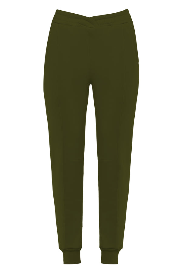 Overlapped Front Sweatpants in Khaki