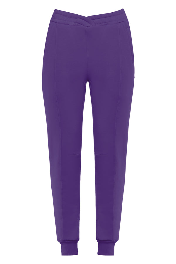 Overlapped Front Sweatpants in Mauve