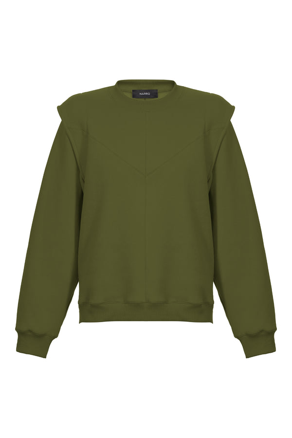 Layered Shoulder Sweatshirt in Khaki