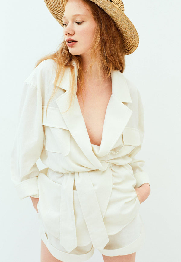 Linen Blend Belted Jacket - NARRO