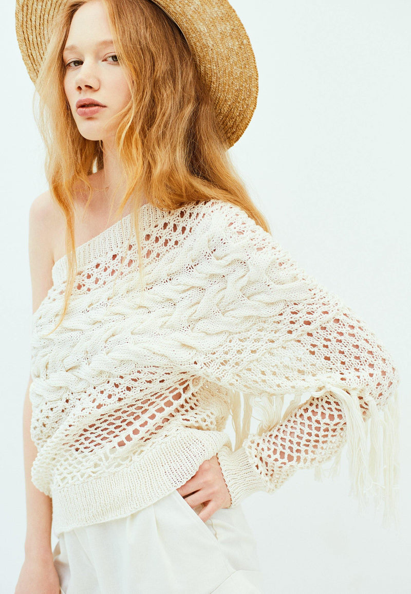 One Shoulder Knit Pullover - NARRO