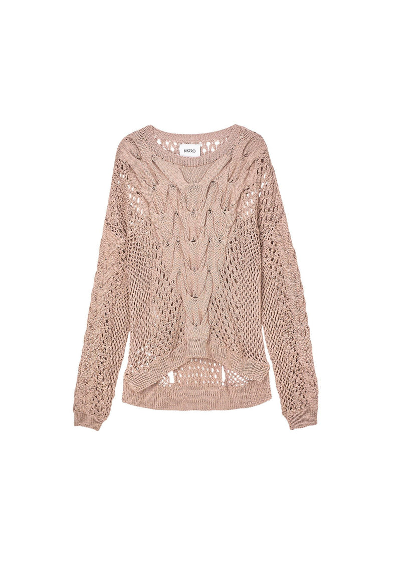 Organic Cotton Knitted Sweater in Dusty Pink - NARRO
