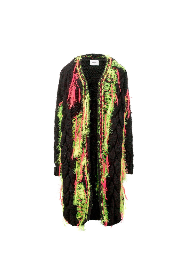 Embroidered Wool Long Cardigan - NARRO