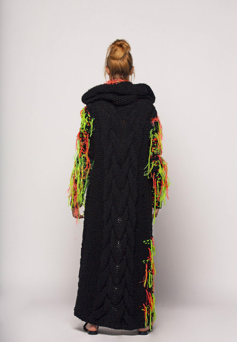 Embroidered Wool Long Hooded Cardigan - NARRO