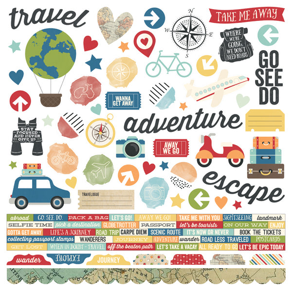 Travel Notes 12x12 Combo Stickers 12 pack