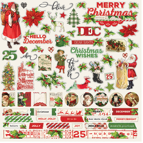 Simple Vintage Christmas 12x12 Combo Stickers 12 pack