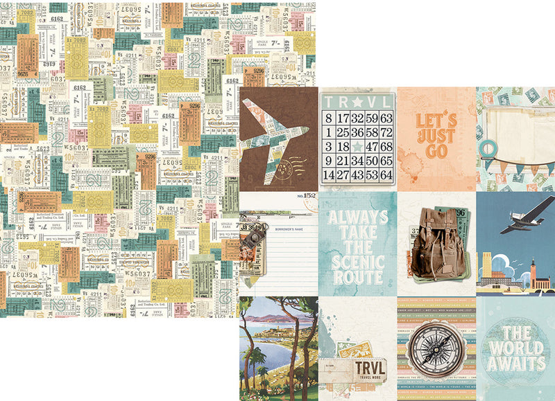 Simple Vintage Traveler 12x12 Paper - Rust/Green