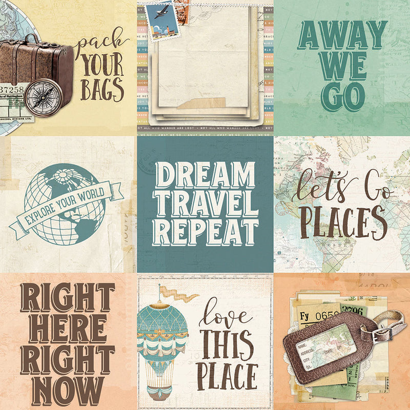 Simple Vintage Traveler 4x4 Elements