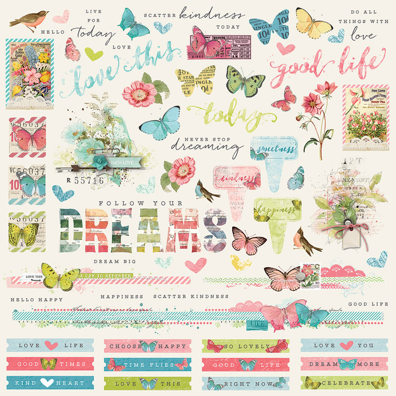 Simple Vintage Botanicals 12x12 Paper - Green/Pink