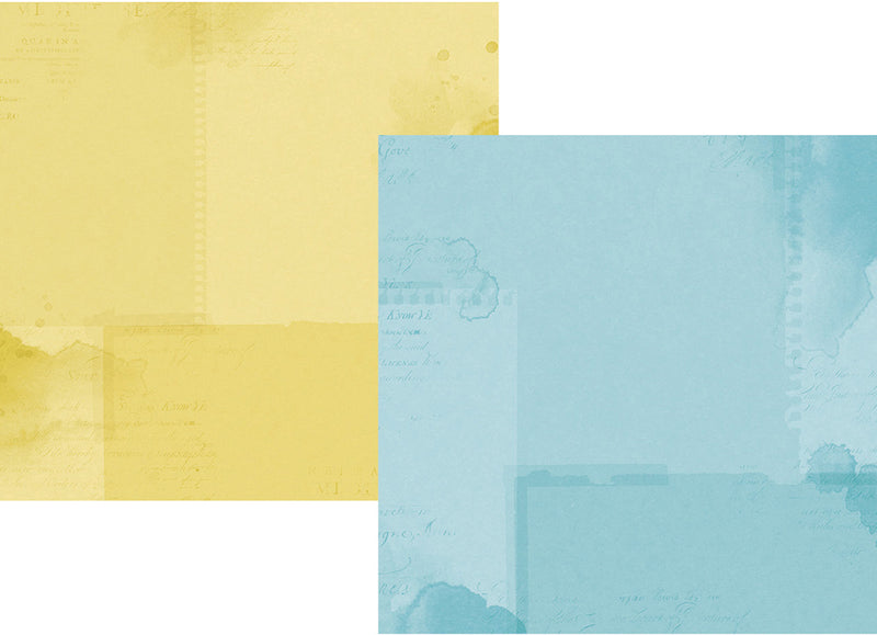 Simple Vintage Botanicals 12x12 Paper - Light Blue/Yellow