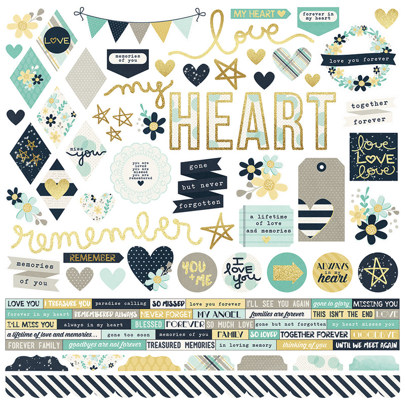 Heart 12x12 Paper - Teal/Gold