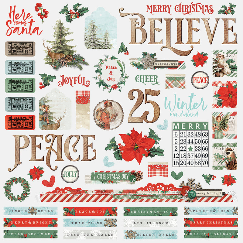 Country Christmas 12x12 Paper - Pine/Dots