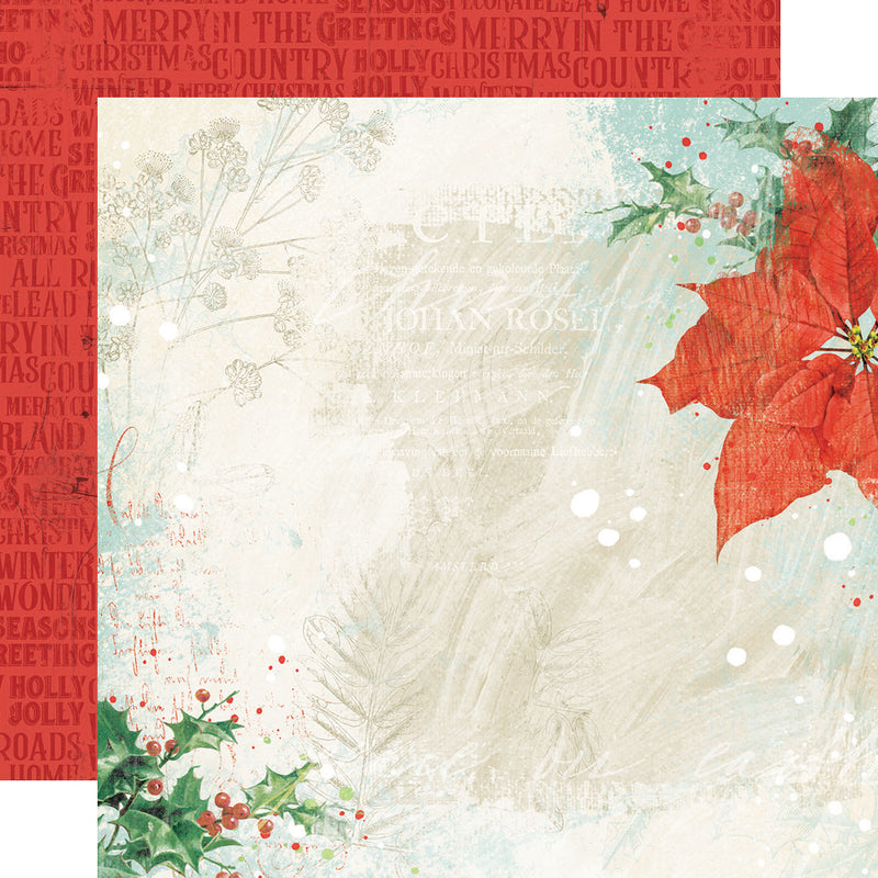Country Christmas 12x12 Paper - Cardinal/Dots
