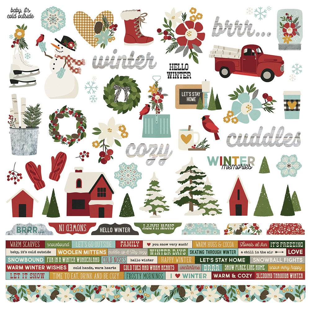 Winter Farmhouse 12x12 Combo Sticker
