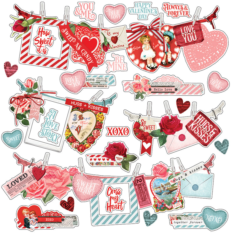 Simple Vintage My Valentine 12x12 Paper - Love Struck