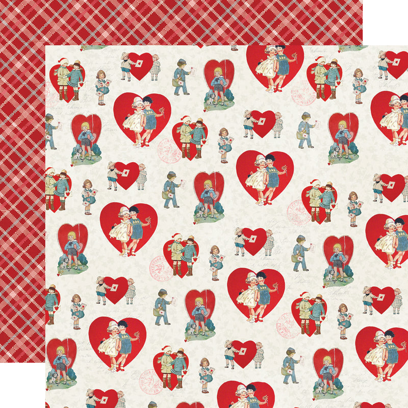 Simple Vintage My Valentine 12x12 Paper - Sweet on You
