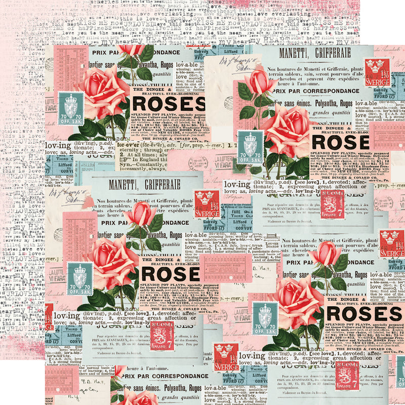 Simple Vintage My Valentine 12x12 Paper - Rose/Lace Dots