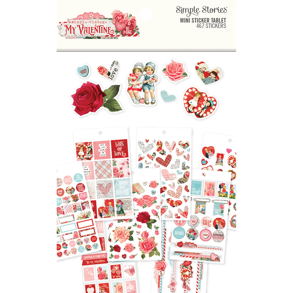 Simple Vintage My Valentine Mini Sticker Tablet