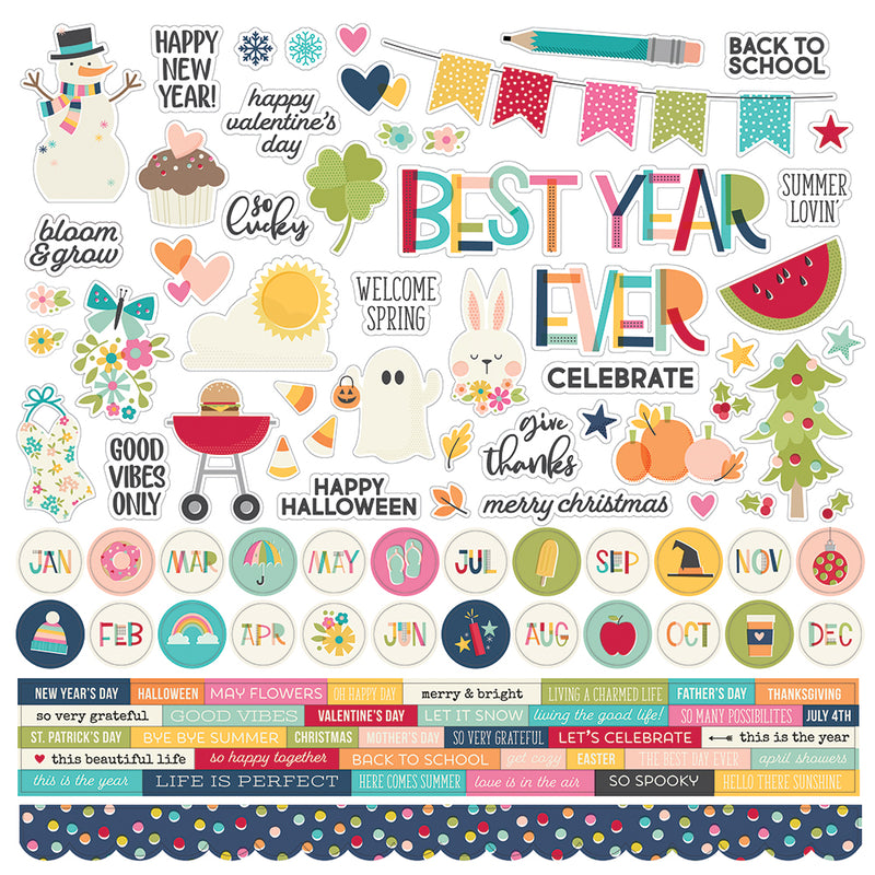Best Year Ever 12x12 Combo Sticker