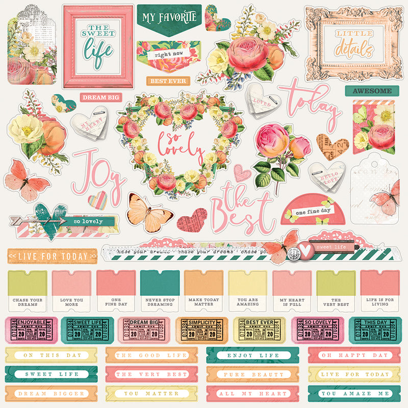 Simple Vintage Garden District 12x12 Paper - Choose Happy