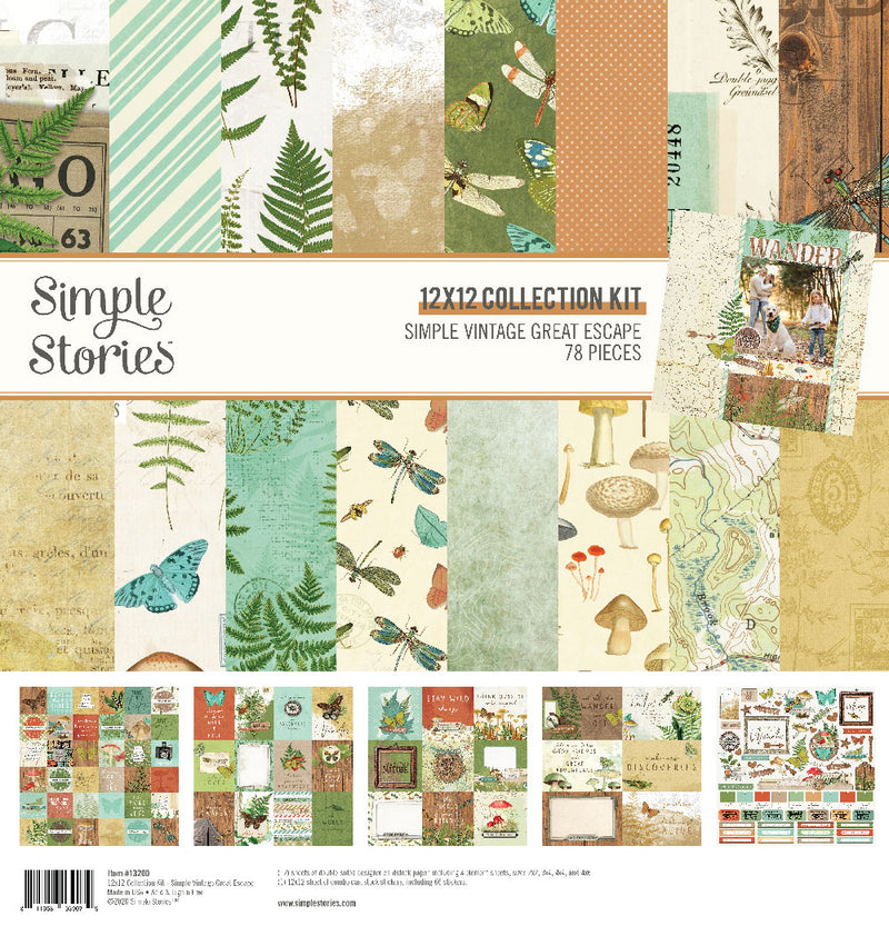 Simple Vintage Great Escape 12x12 Paper - Straw/Ginger