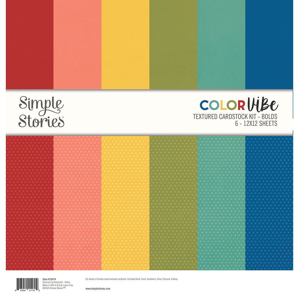 Color Vibe Textured Cardstock Kit - Bolds