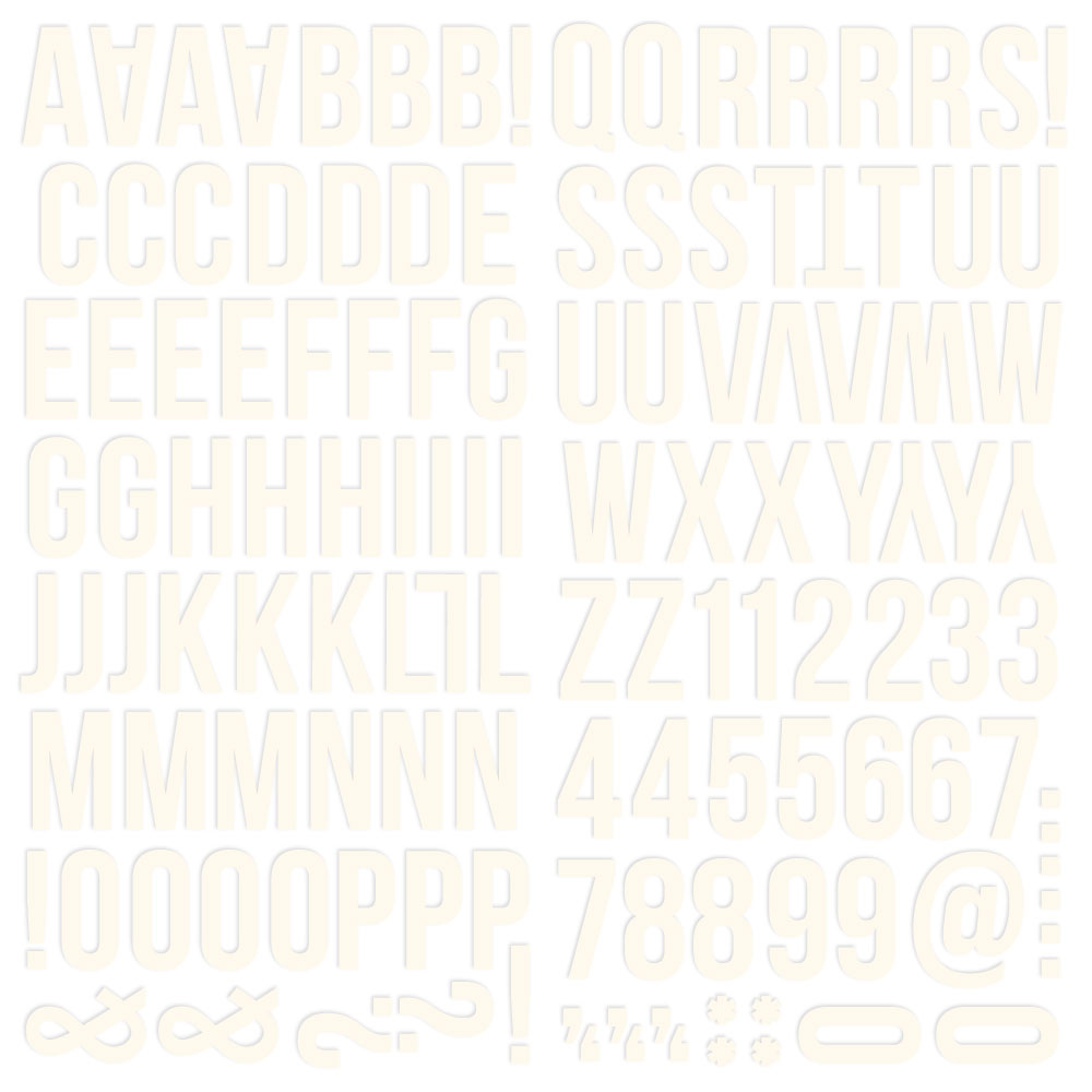 Color Vibe Foam Alpha Stickers - Warm White