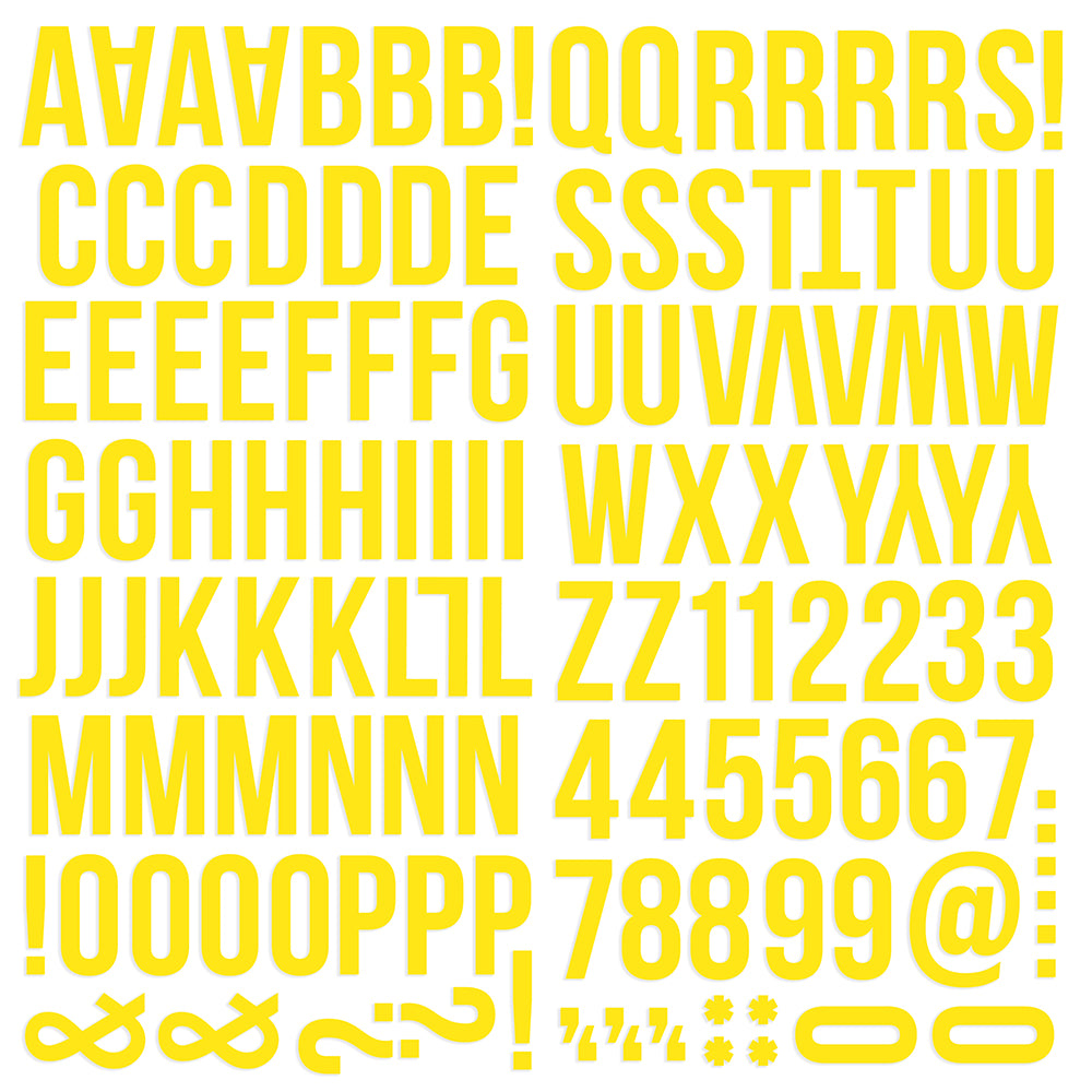 Color Vibe Foam Alpha Stickers - Yellow