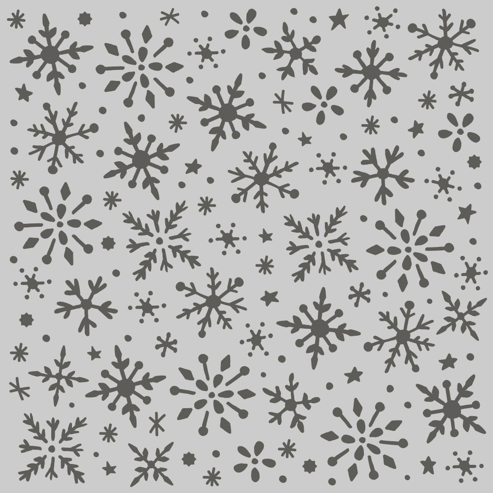 Winter Cottage - 6x6 Stencil - Snowflakes