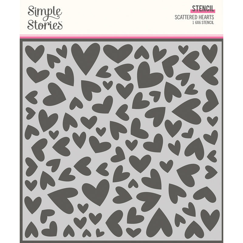 Sweet Talk - 6x6 Stencil - Scattered Hearts