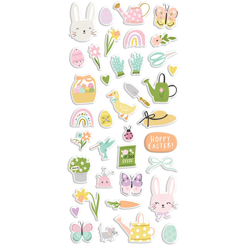 Bunnies + Blooms - Puffy Stickers