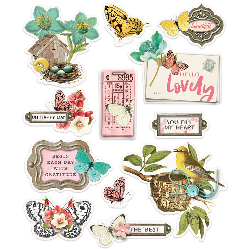 Simple Vintage Cottage Fields - Layered Stickers