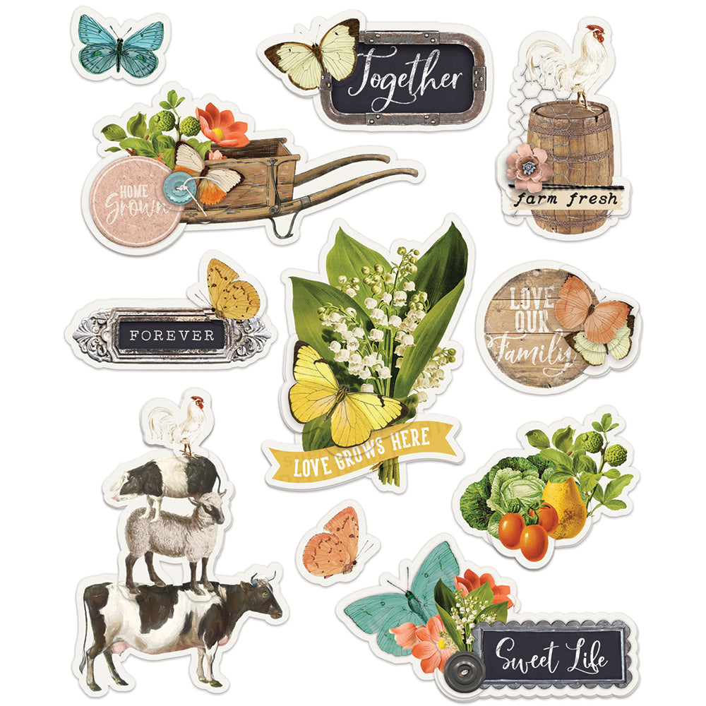 Simple Vintage Farmhouse Garden - Layered Stickers