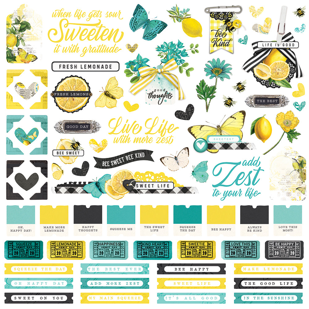 Simple Vintage Lemon Twist - Cardstock Sticker