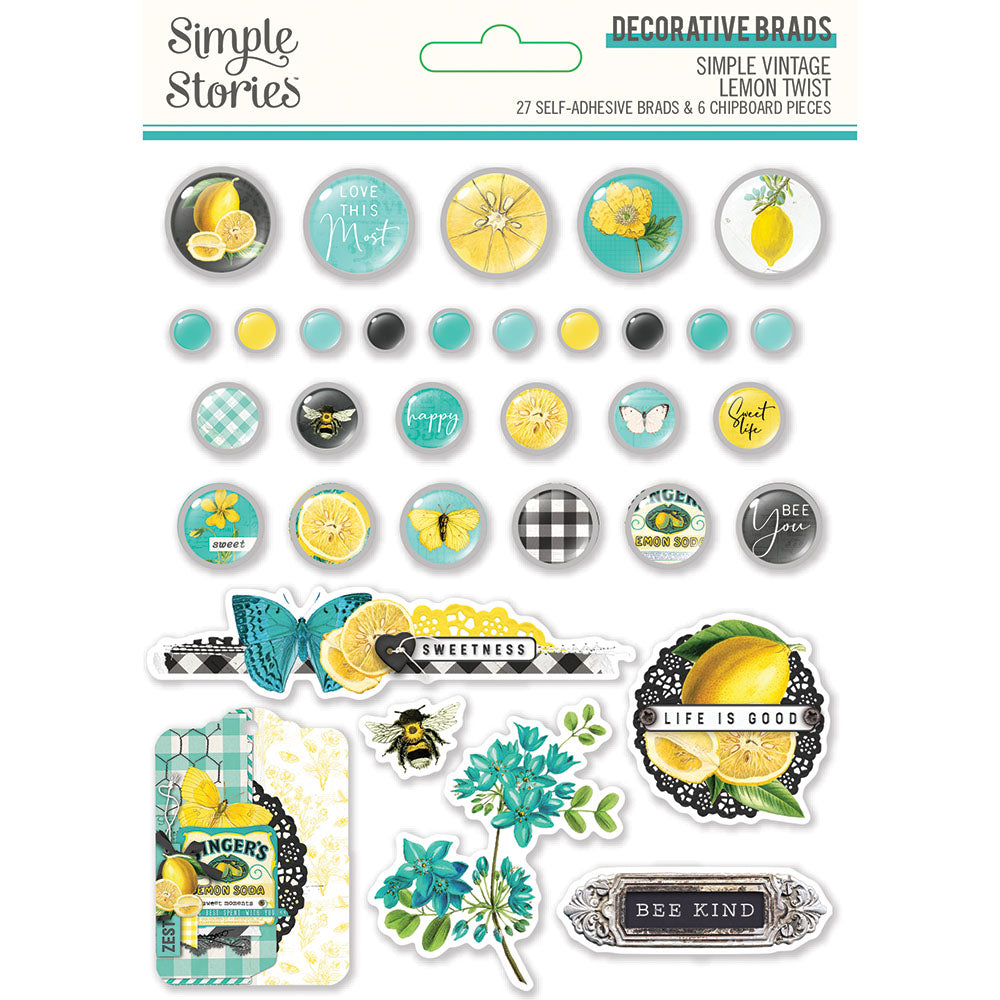 Simple Vintage Lemon Twist - Decorative Brads