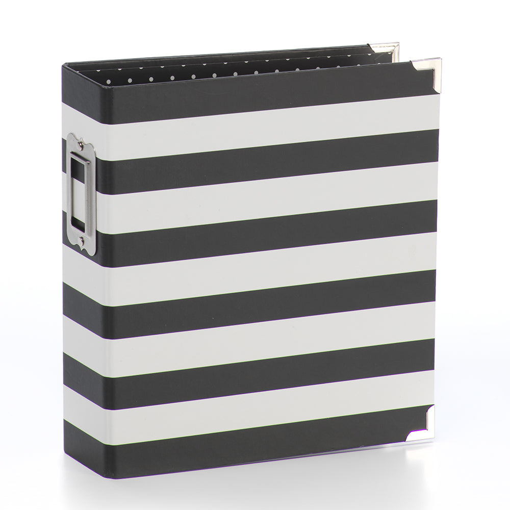 6x8 SN@P! Designer Binder - Black Stripe