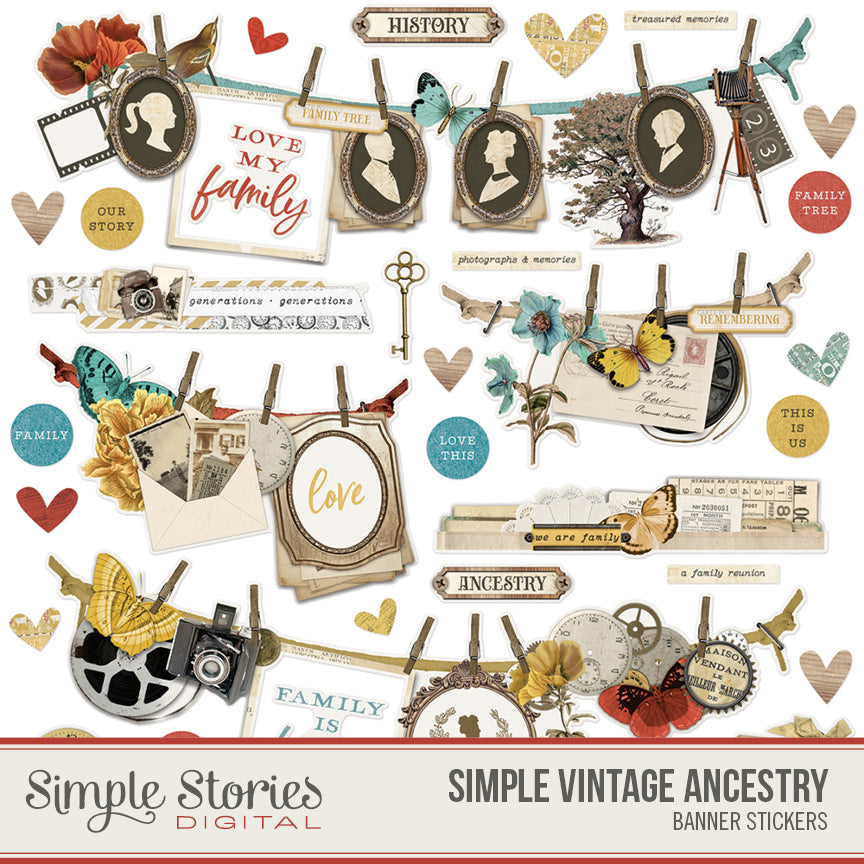 Simple Vintage Ancestry Digital Banner Stickers