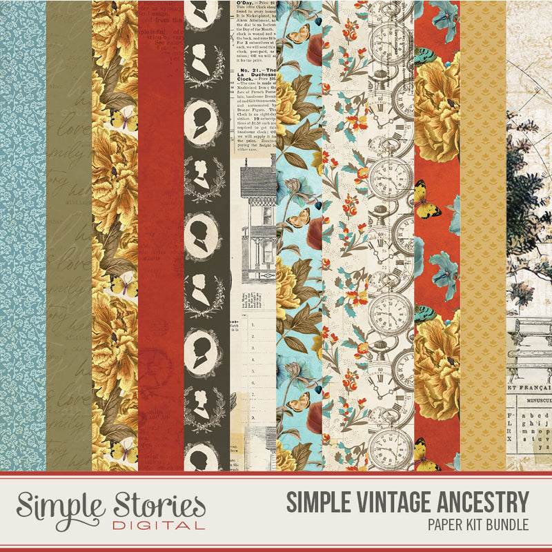 Simple Vintage Ancestry Digital Paper Kit