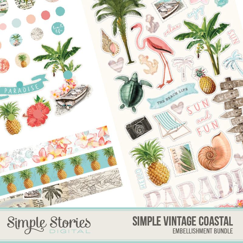 Simple Vintage Coastal Digital Collection Kit Bundle