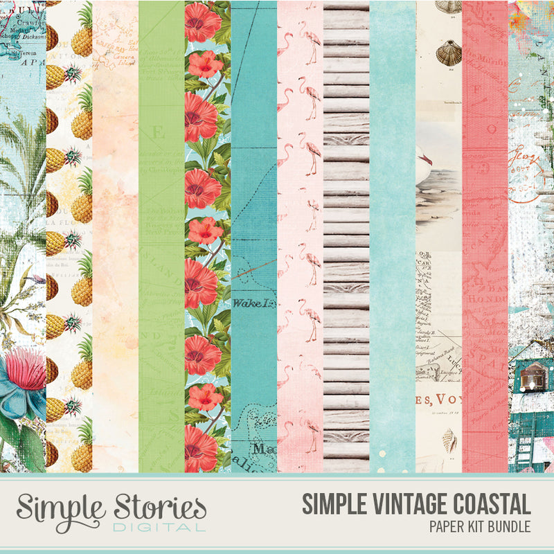Simple Vintage Coastal Digital Elements