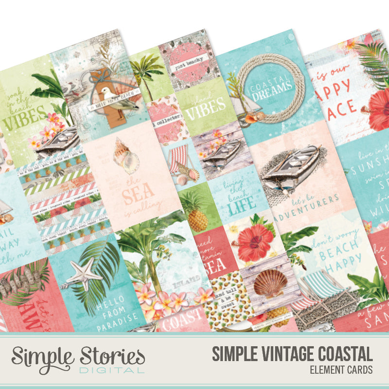 Simple Vintage Coastal Digital Paper Kit