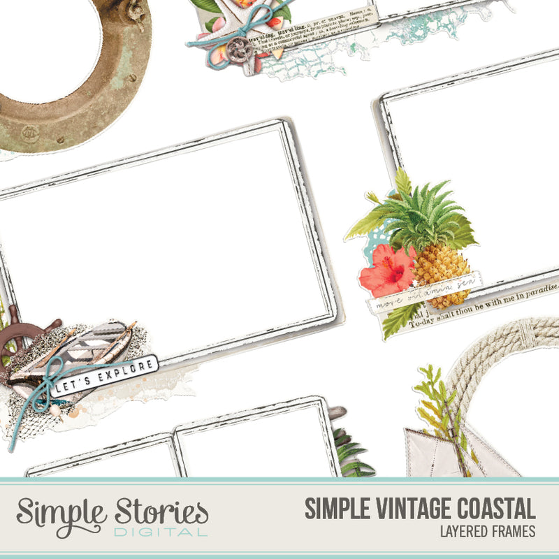 Simple Vintage Coastal Digital Chipboard Frames